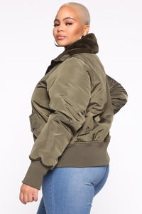 Nights In Denver Bomber Jacket - Olive Angle 8