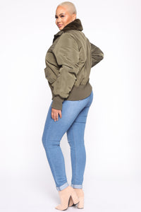 Nights In Denver Bomber Jacket - Olive Angle 9