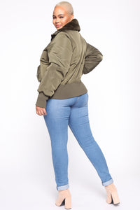 Nights In Denver Bomber Jacket - Olive Angle 10