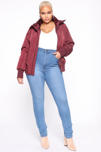 Nights In Denver Bomber Jacket - Wine Angle 7
