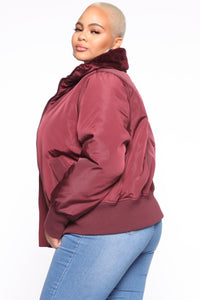 Nights In Denver Bomber Jacket - Wine Angle 8