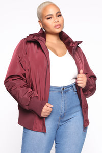 Nights In Denver Bomber Jacket - Wine Angle 6