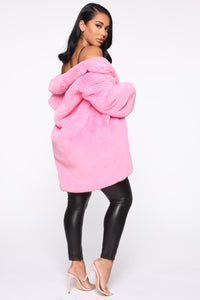 Always Vibrant Faux Fur Coat - Bubble Gum Pink