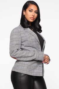Check Her Go Plaid Blazer - Grey