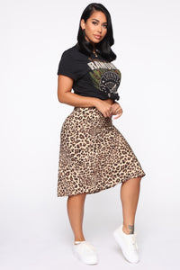 All Bite Satin Midi Skirt - Taupe