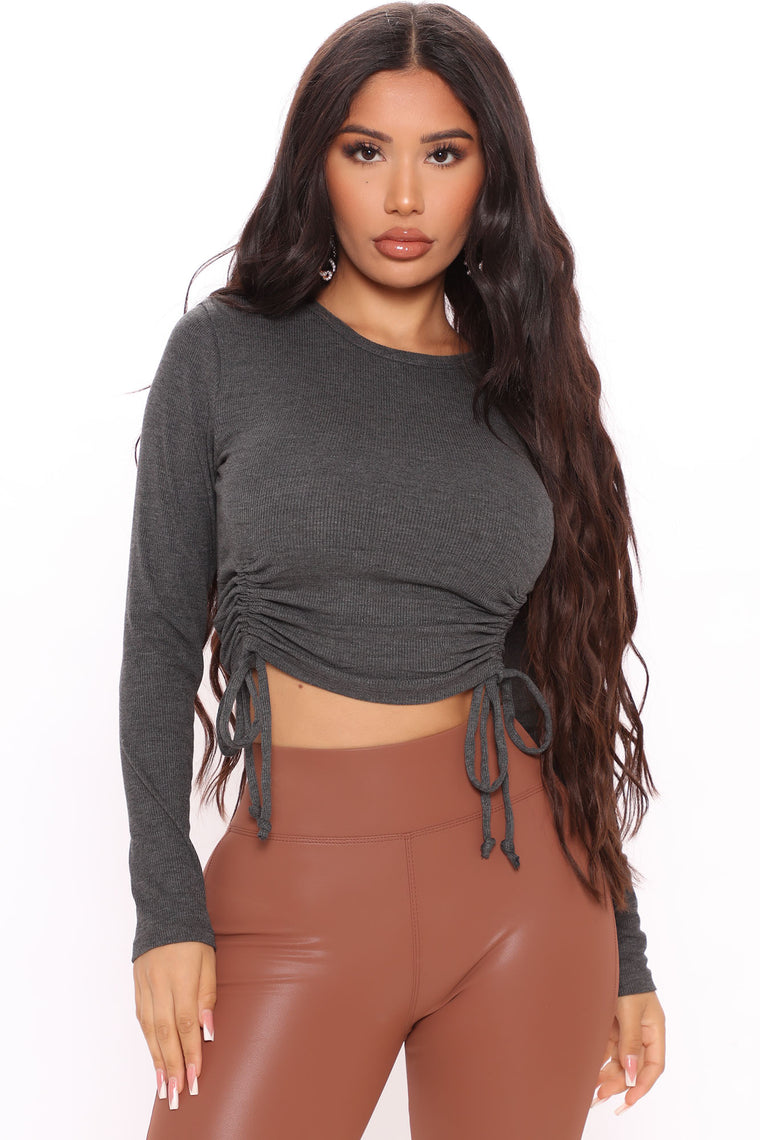 No Ruche Ribbed Top - Charcoal