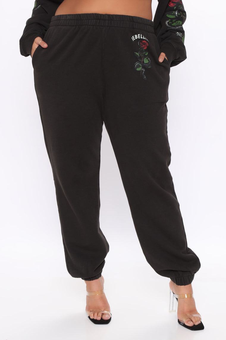 REBEL RIOT SWEATPANTS - Black/combo