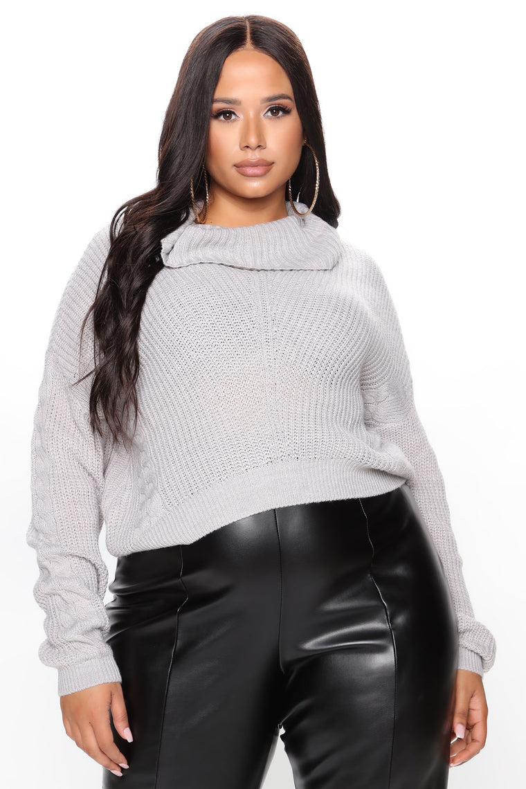 Keep On Guessin' Cowl Neck Sweater - Heather Grey