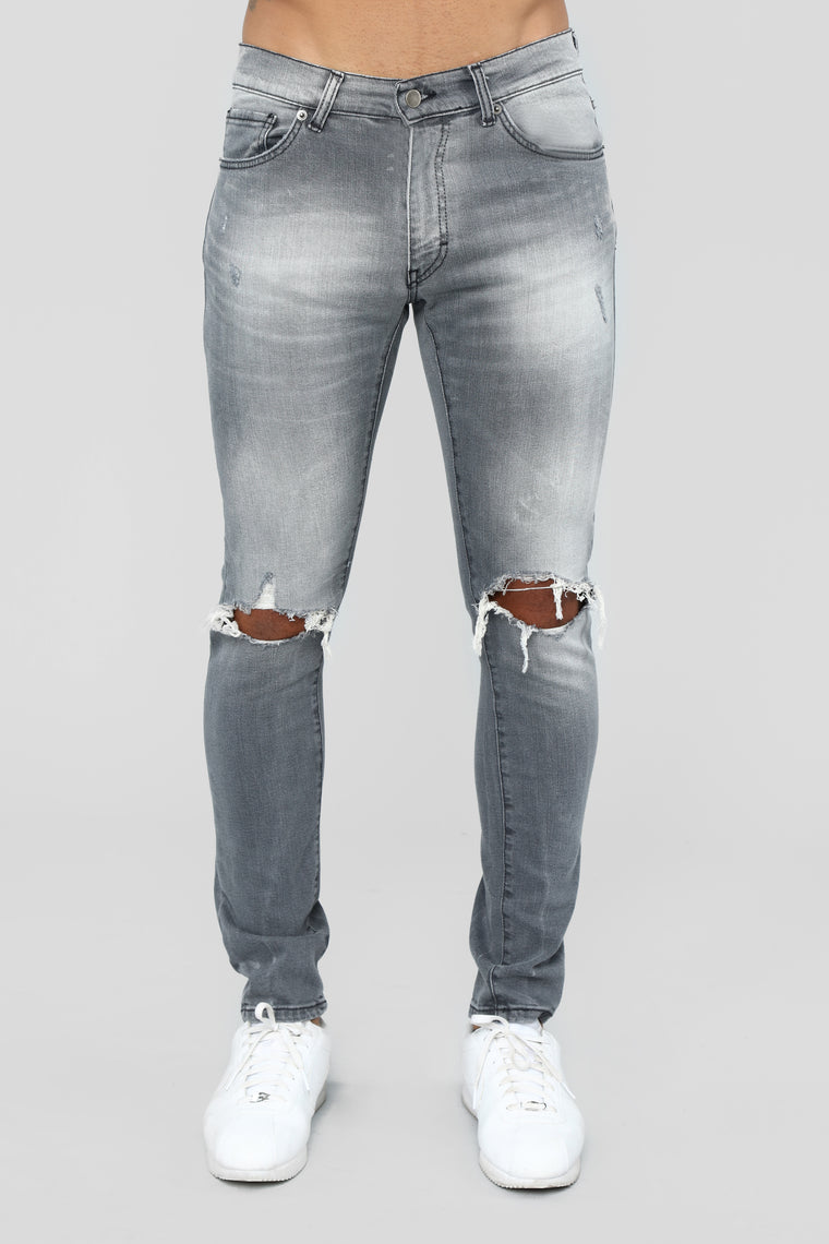 Asphalt Blown Out Knee Skinny Jeans - Grey