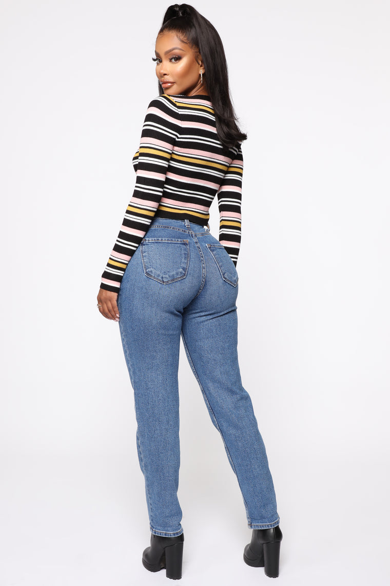 Try To Control Me Cropped Cardigan Multi Color