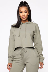 Latest And Greatest French Terry Crop Hoodie - Olive