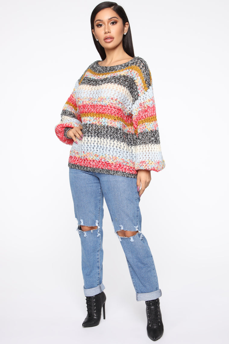 Because I'm Happy Sweater - Black/Multi