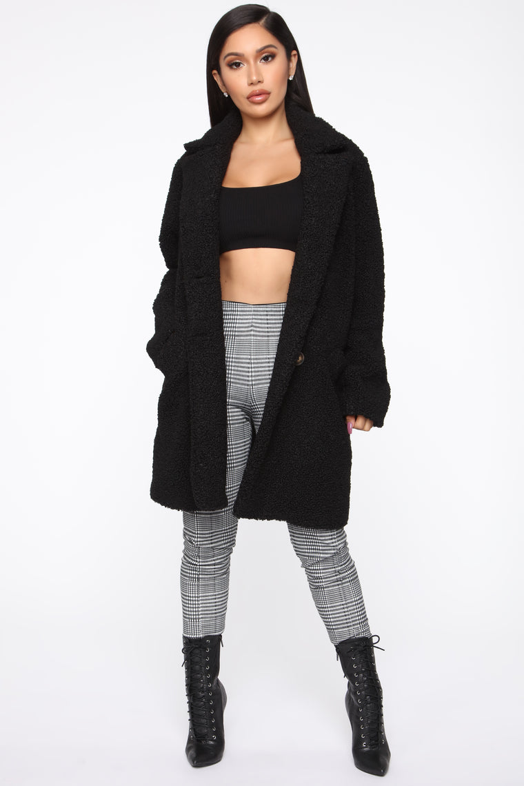 Just Go For It Sherpa Coat - Black