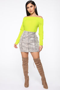 You're A Doll Off Shoulder Top - Neon Yellow Angle 2