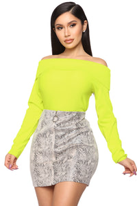 You're A Doll Off Shoulder Top - Neon Yellow Angle 1