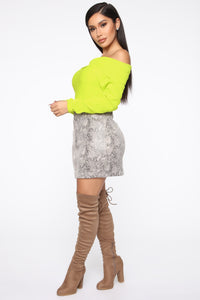 You're A Doll Off Shoulder Top - Neon Yellow Angle 3