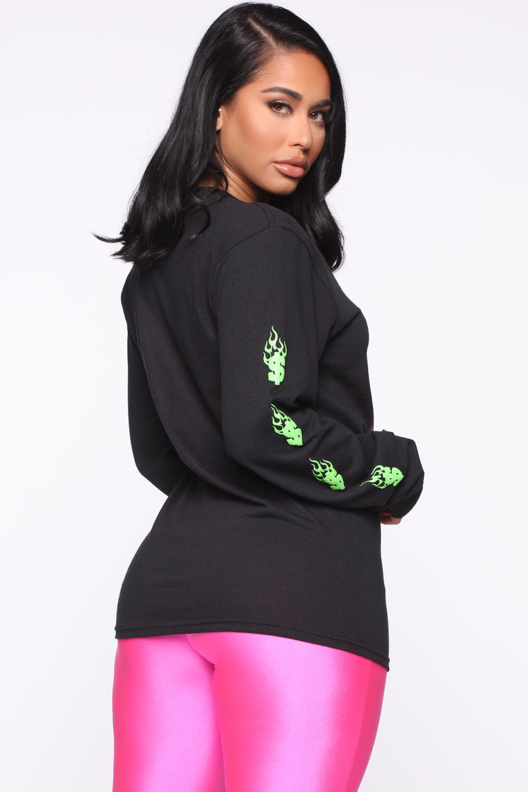 On The Cover Long Sleeve Top - Black
