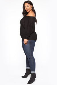 Just Your Type One Shoulder Top - Black