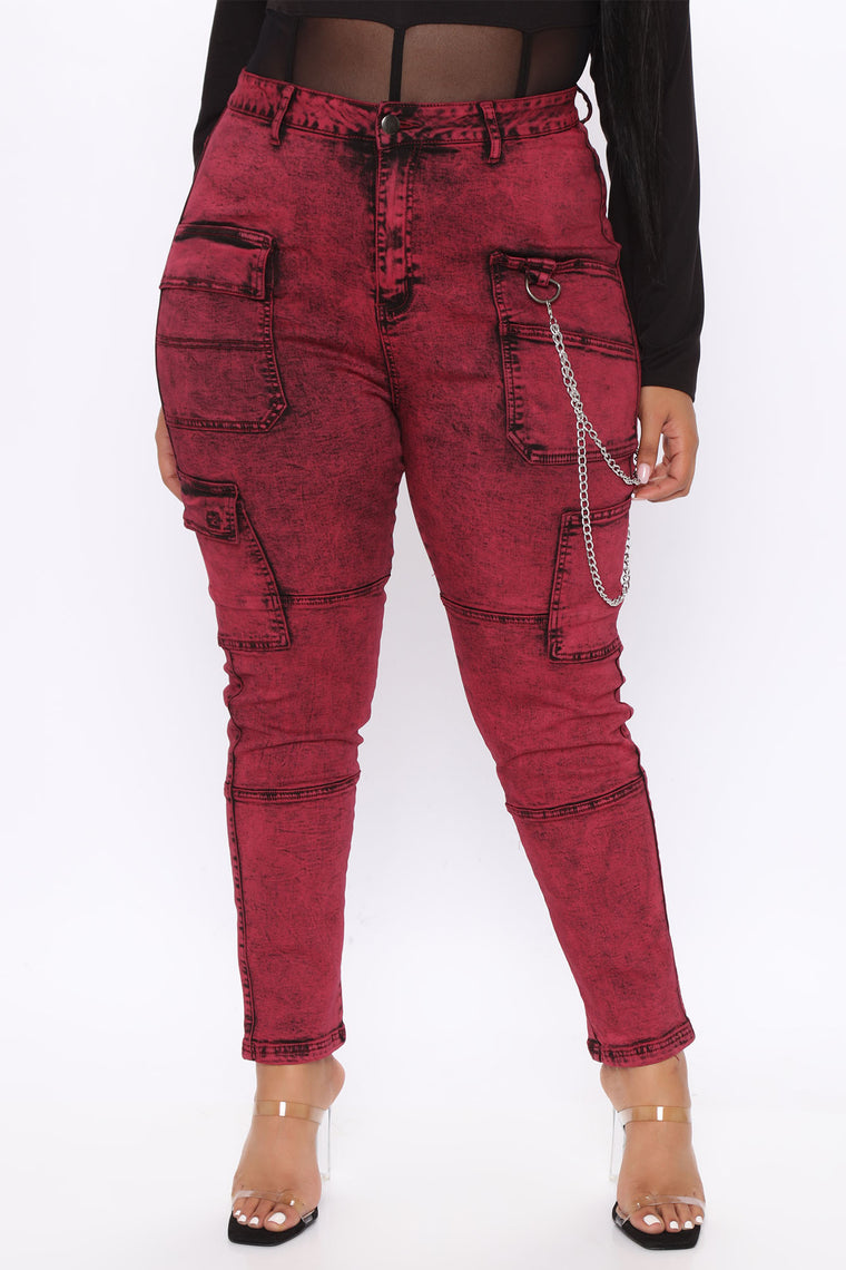 Off The Chain Cargo Jeans - Red