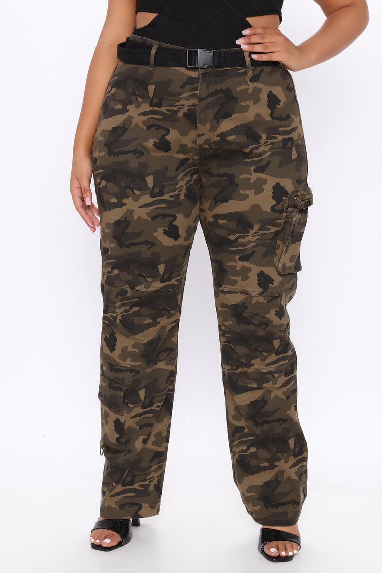 Girl On The Move Cargo Denim Joggers - Camouflage