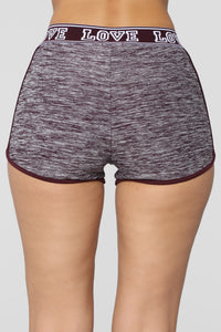 Bad At Love Active Shorts - Burgundy