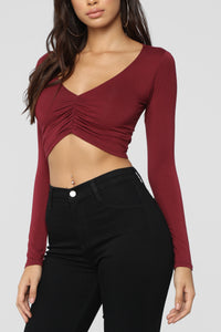 Tired Of No Shows Top - Burgundy