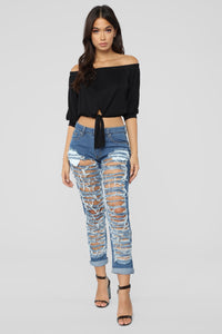 Self Destruct Distressed Boyfriend Jeans - Medium Blue Wash Angle 1