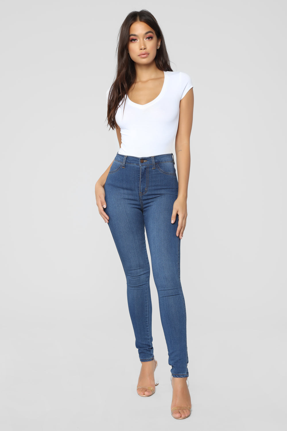 Lily V Neck Top - White