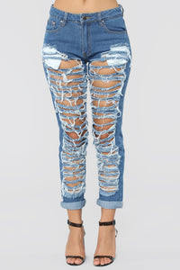 Self Destruct Distressed Boyfriend Jeans - Medium Blue Wash Angle 2