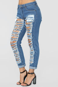 Self Destruct Distressed Boyfriend Jeans - Medium Blue Wash Angle 4