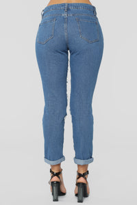 Self Destruct Distressed Boyfriend Jeans - Medium Blue Wash Angle 6