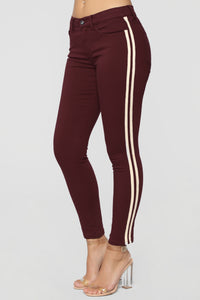 Sideline You Side Stripe Jeans - Burgundy