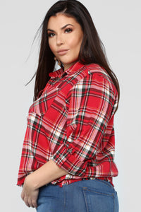 Lounge Affair Raw Hem Top - Red Combo