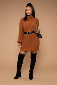 Too Cozy Turtle Neck Sweater Dress - Cognac