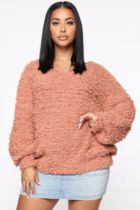 Snuggle With Me Fuzzy Sweater - Camel Angle 1
