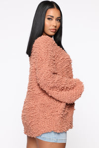 Snuggle With Me Fuzzy Sweater - Camel Angle 3