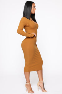 Sweet And Charming Midi Dress - Cognac