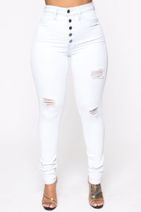 Diamonte Distressed Skinny Jeans - Light Blue Wash