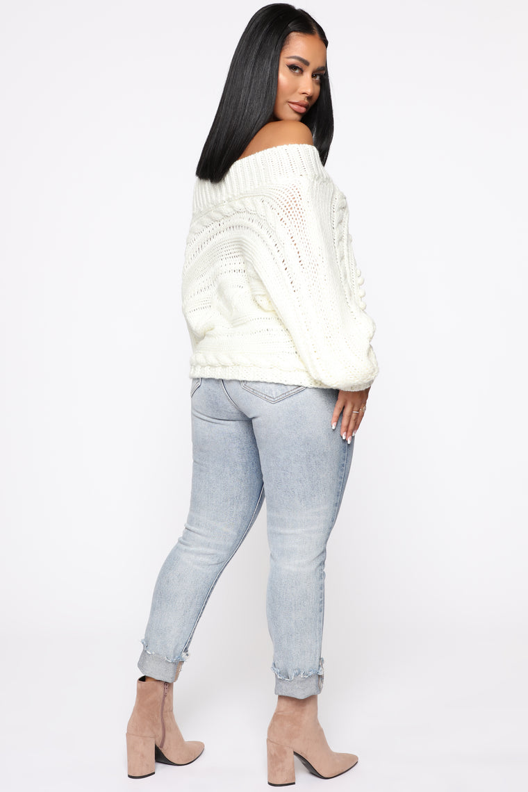 Hoping For Love Off Shoulder Sweater - White