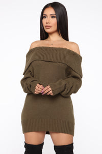 If I Kissed You Oversized Sweater - Olive Angle 1