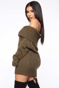 If I Kissed You Oversized Sweater - Olive Angle 3