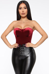 Smooth To The Touch Bodysuit - Burgundy