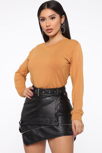 Jennifer Long Sleeve Crew Neck Tee - Camel