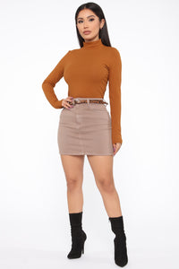 Mariah Long Sleeve Mock Neck Top - Terracotta
