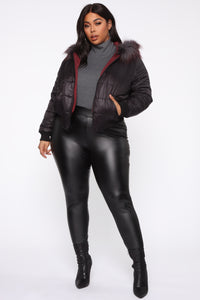 So In Love Reversible Puffer Jacket - Black/Combo