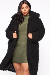 All About Me Fuzzy Coat - Black Angle 5