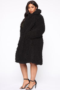 All About Me Fuzzy Coat - Black Angle 8