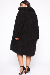 All About Me Fuzzy Coat - Black Angle 6