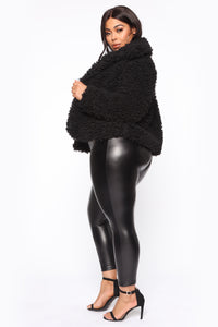 All About Me Fuzzy Jacket - Black