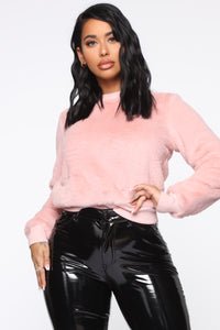 Cozy Fuzzy Pullover - Pink